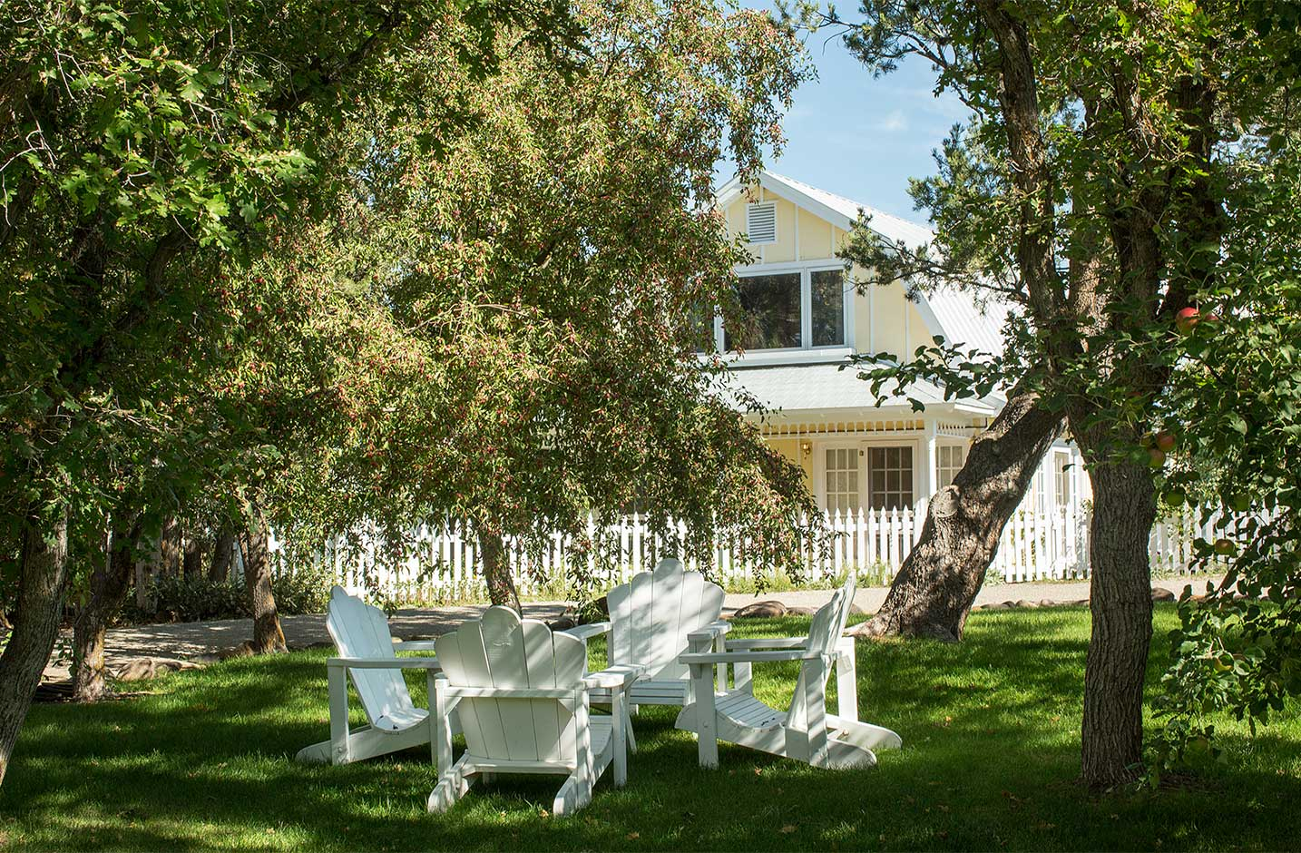 Outside seating area with apple trees and Pinon barn