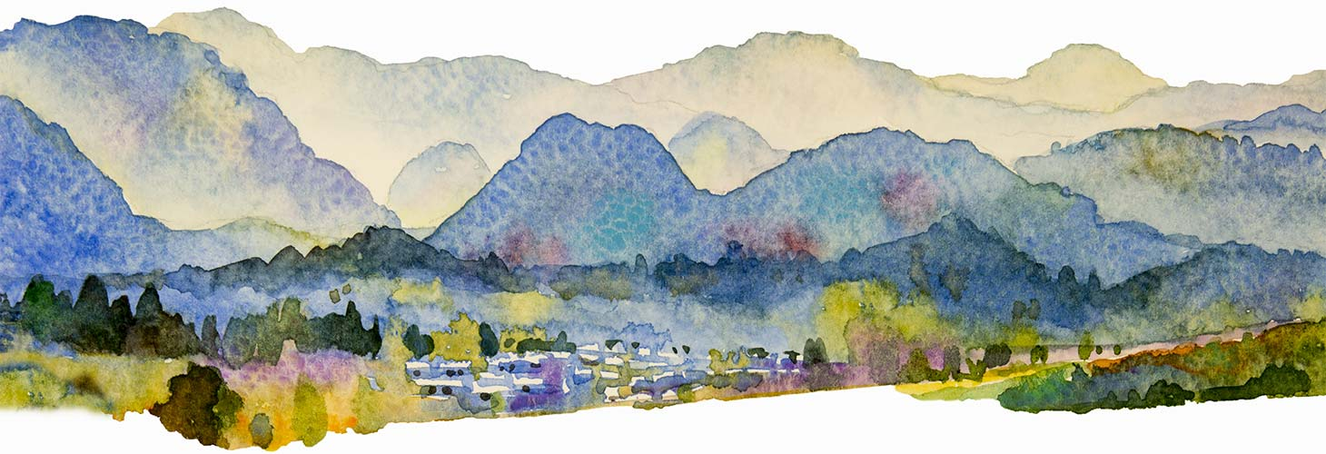 Watercolor landscape painting of mountains