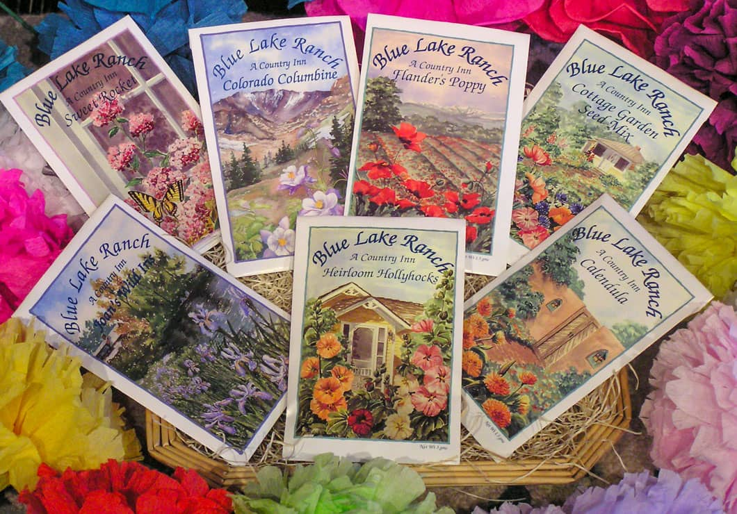 Packets of Blue Lake Ranch heirloom flower seeds