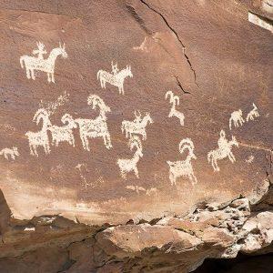 Ute petroglyphs in stone wall