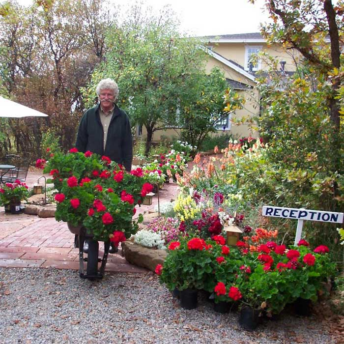 David with a wheelbarrow full of flowers