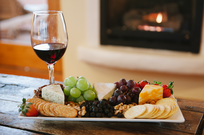 Red wine and an assortment of cheeses
