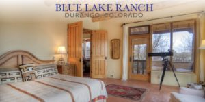 Beautiful luxurious bedroom in one of our suites at Blue Lake Ranch